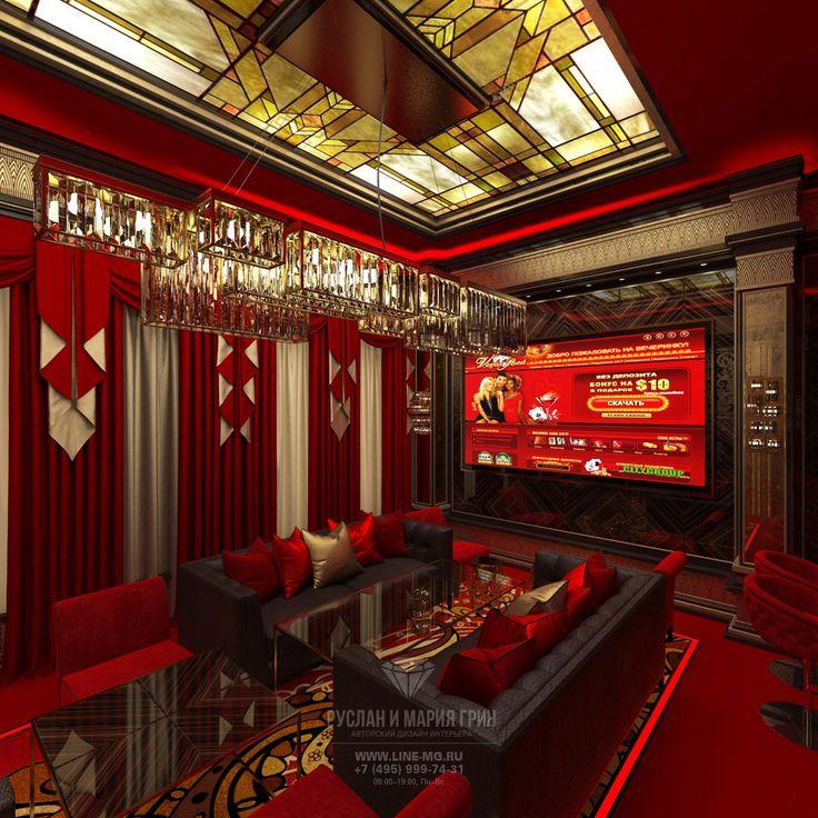 Красные и бордовые акценты в интерьере VIP казино в стиле ар-деко