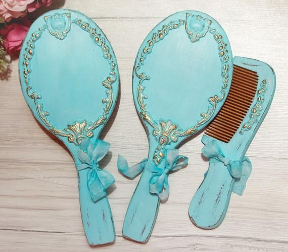 Hand Painted Wood Hair Brush and Wooden Mirror Mirror and hairbrush Victorian Dressing Table Set Hairbrush and Wooden Mirror Vanity Set