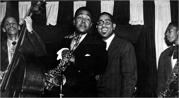 From left, Tommy Potter, Charlie Parker, Dizzy Gillespie and John Coltrane at Birdland, the New York nightclub named after Parker, in 1951.