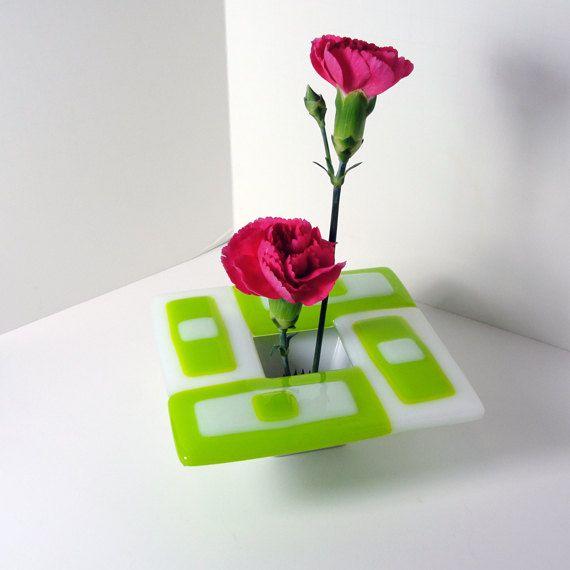 Λιωμένο γυαλί Ikebana Βάζο Spring Green Home Decor Λευκό Λουλούδια Pin βάτραχος Bowl Πίνακας Βάζο Βάζο μπουμπούκι δώρα κάτω από 50