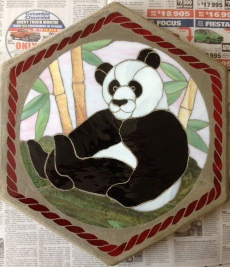 "Panda Bear 16"" Stained Glass Garden Stone"