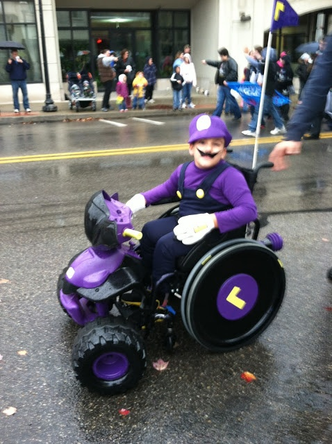 Luigi costume - boy with wheelchair