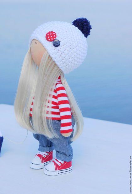 Коллекционные куклы ручной работы. Морская девочка. Irina Berezhnaya. Интернет-магазин Ярмарка Мастеров. Сине-белый, морская тема