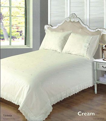 Traditional Embroidered or Embellished Duvet Cover Bedding Sets - Cream or White