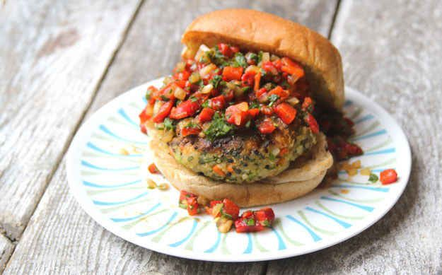 Quinoa Veggie Burger with Roasted Red Pepper Relish | 26 Veggie Burgers That Will Make Meat Question Its Very Existence