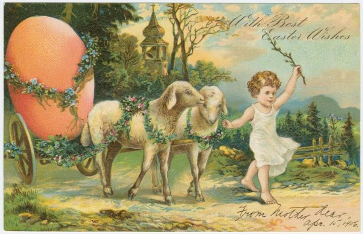 Paul Finkenrath (Firm)   — Old Post Card 'With best Easter wishes',c.1906  (760x490)
