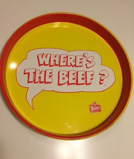 Wendy's Where's the Beef Serving Tray by TheTeaberryCottage