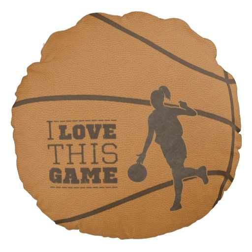 Basketball Girl Game Love Round Throw Pillow | Zazzle.com  – All Things Kindergarten to High School!  Fun Clothing, Crafts, Decor, Games, Graduation