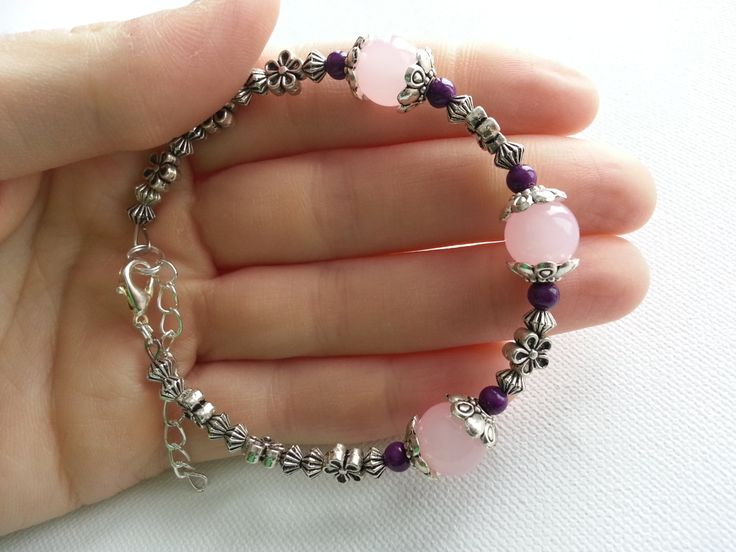 Love Mala Bracelet  Pink Jade and Purple by lovemeknottbilton, $23.00
