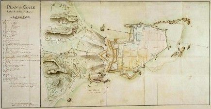 Ancient Map of Galle Fort, Ceylon 1787