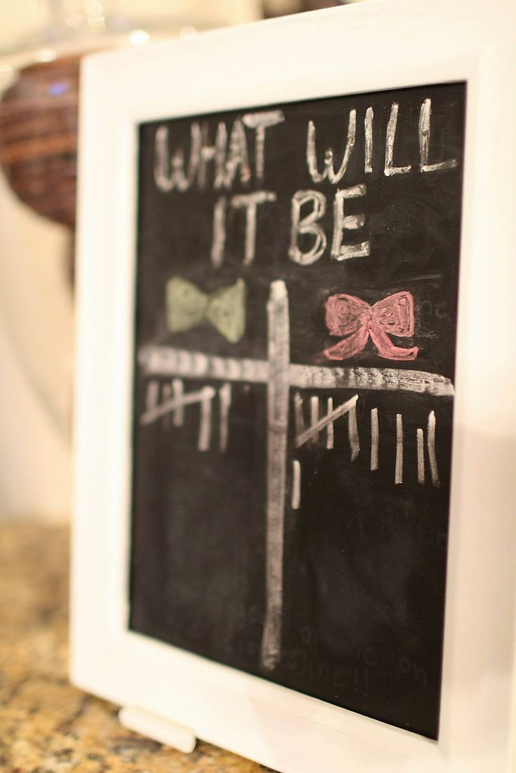 Gender reveal party chalkboard bow ties and bows