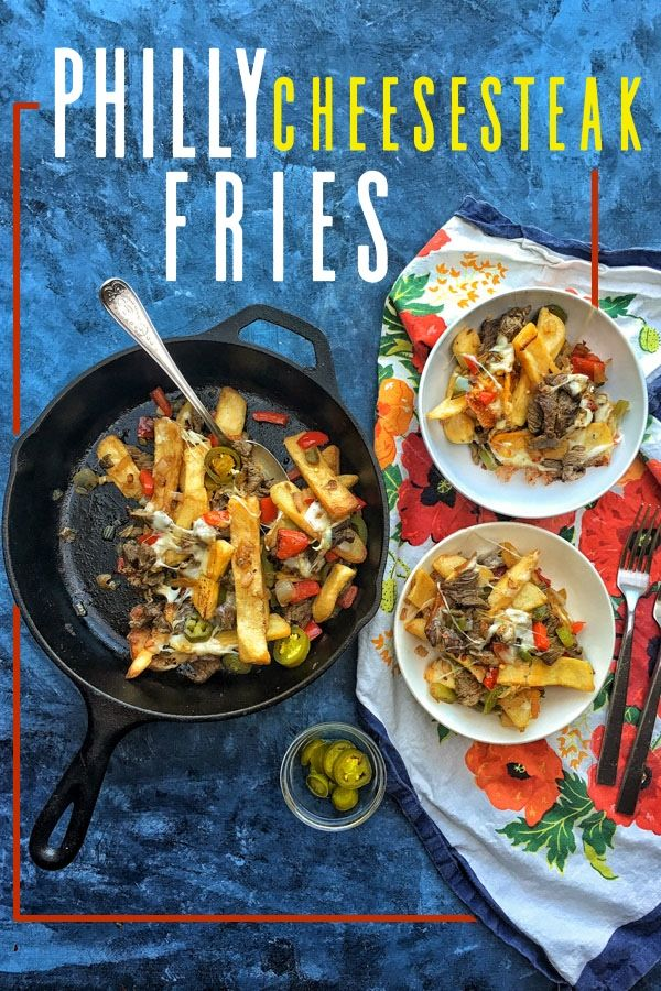 Philly Cheesesteak Fries serves 3-4 1 (16 ounce) bag frozen steak fries 2 tablespoon olive oil, divided 1 small onion, diced 1/2 green bell pepper, diced 1 red pepper, diced 2 cloves garlic, minced 8 ounces steak, thinly sliced pinch red pepper flakes 1/4 cup pickled jalapeños (optional) 4 slices provolone cheese, cut into quarters …