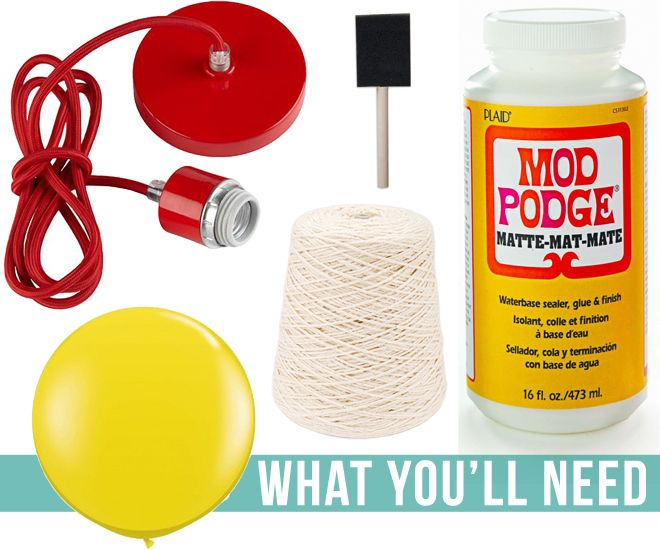 What You'll Need: DIY Yarn Ball Light Fixture
