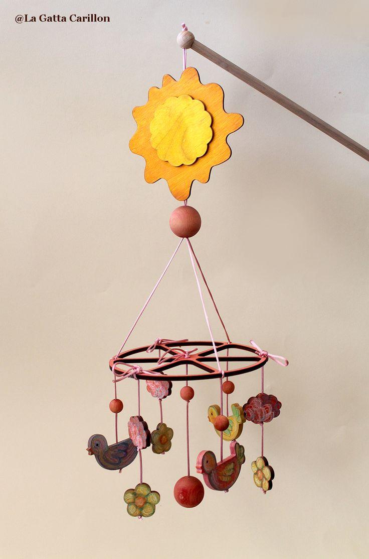 Wooden baby crib mobile music box - Cradle - with birds! Carillon da culla in legno con uccellini.