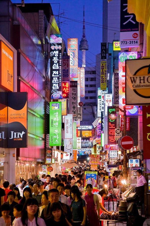 Myeong-dong shopping area, Seoul, South Korea