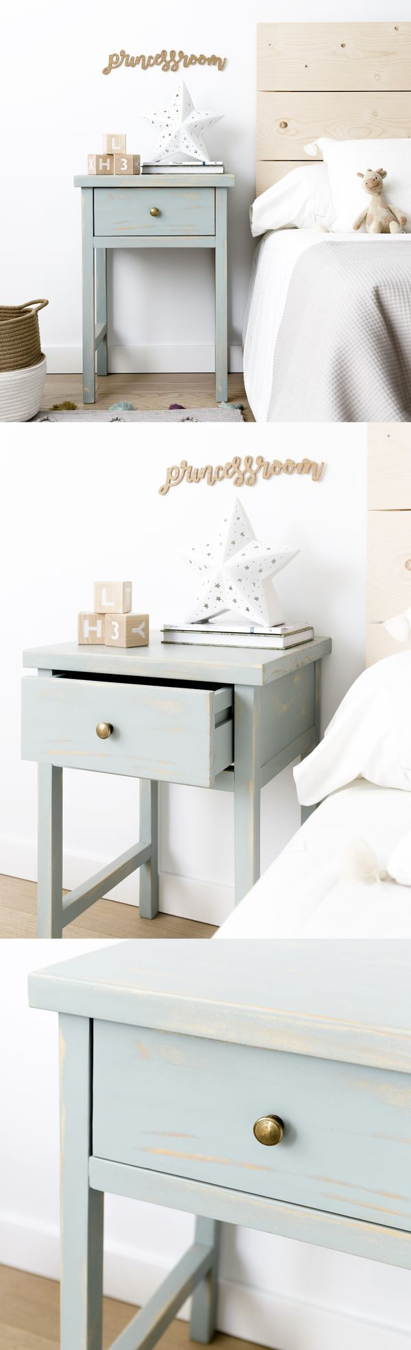 Mesita Fred | Perfecta para dar un toque nórdico y desenfadado a tu dormitorio. Es de madera, pintada en color menta decapado y tiene un amplio cajón, el cual te permite almacenar aquello que desees tener más a mano.  #kenayhome #kenay #home #nordik #scandi #interior #design #whiteinterior #white #mint #blue #bed #bedroom #bedside #wood #madera #night #menta #deco #decoration #decoración #style #kids #cabecero #nyssel #princessroom #cesto #mesita #mesitadenoche