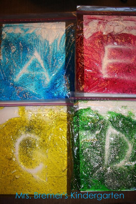 tracing bags with hair gel, glitter, and food coloring. perfect for kids struggling with printing!