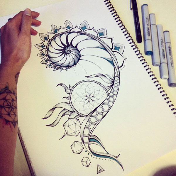 Fibonacci and sacred geometry tattoo design on Behance