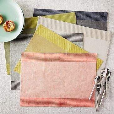 Ivory flax and espresso - Border Stripe Yarn Dye Placemat Set #westelm