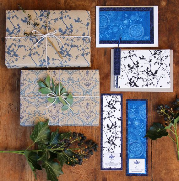 For Him Set Of Gift wrap Cards And Bookmarks In by naturewrap, $23.00