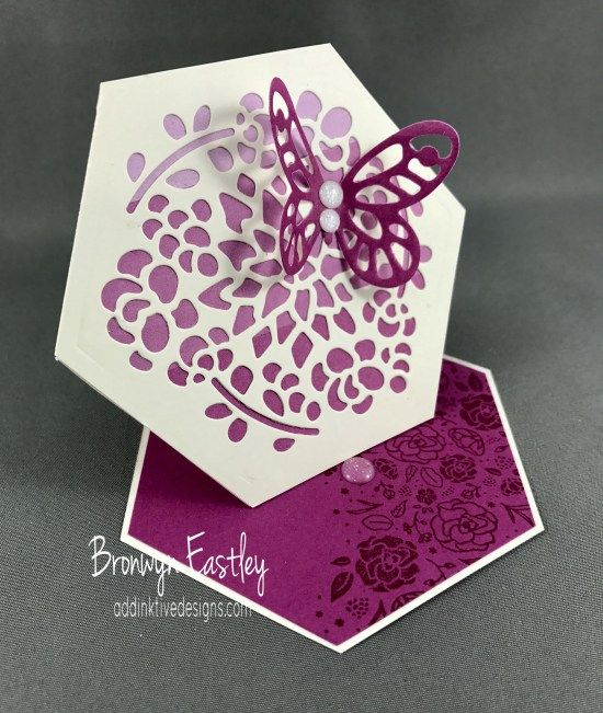 Hexagon Easel Card using the Window Box Thinlits Dies - Free Tutorial on my blog.