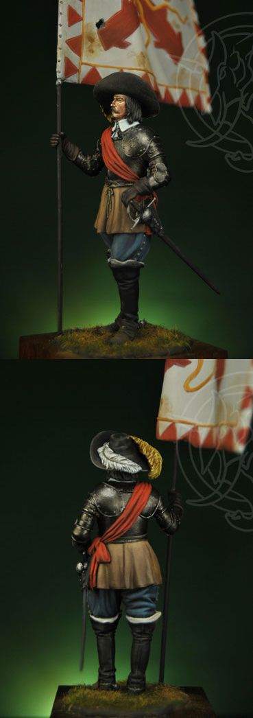 Spanish Alférez (Standard-Bearer sub-officer) at Rocrio (1643), by Romeo Models.