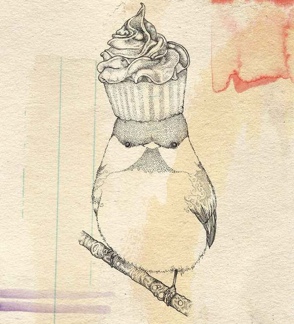 Little Birds by Kate Wilson, via Behance;   You can never have too  many drawings of a bird with a cupcake on his head! I love it!