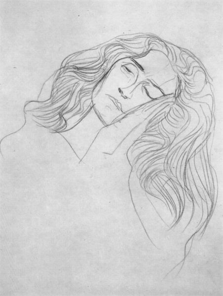 "Woman's head, tilted to the left, hands down to the cheek (Study for ""Jurisprudence"") by Gustav Klimt. 1902"