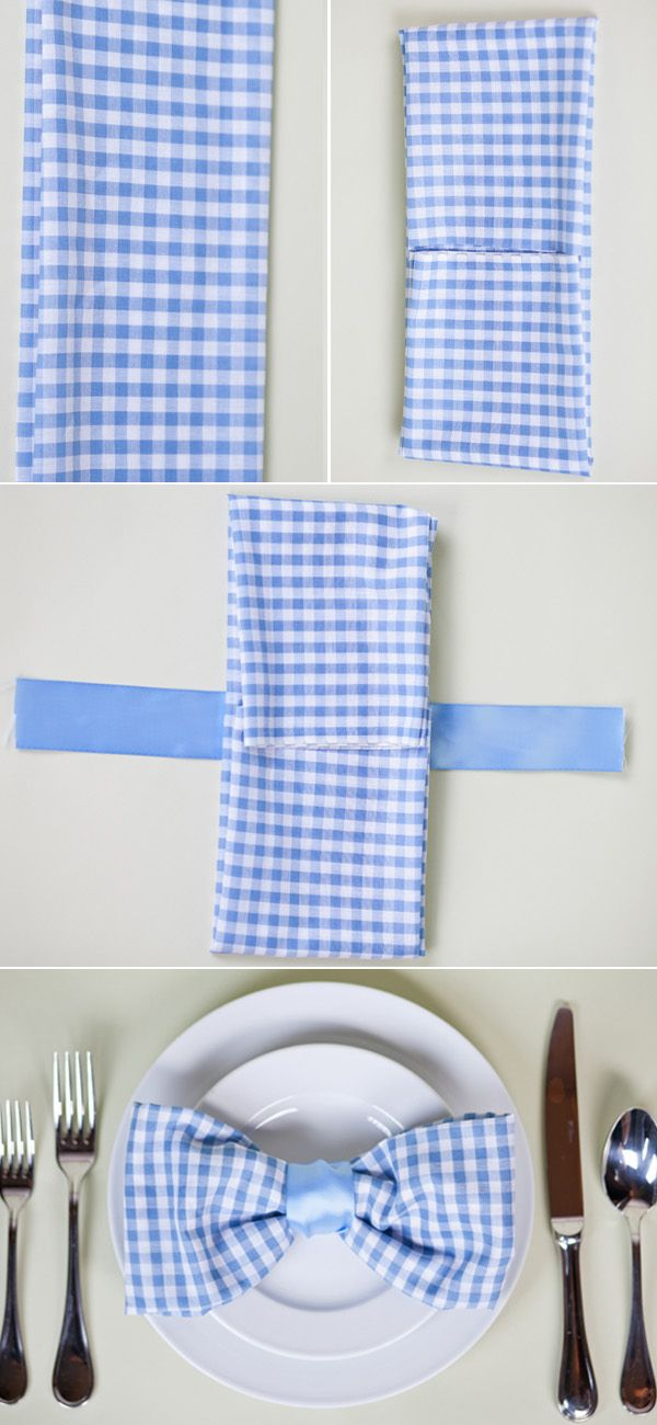 Bow tie napkin fold for blue baby shower! This might be a cute way to do the tea towel favors!