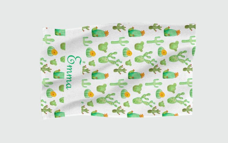 Personalised Beach Towel - Cactus by NJsBoutiqueCo on Etsy