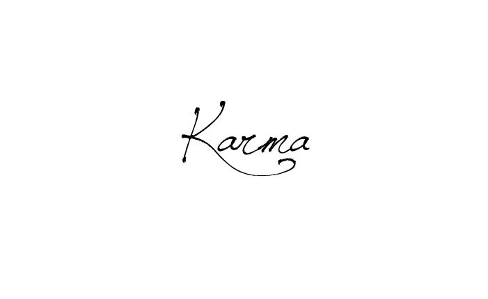 Tattoo Name Karma using the font style Jellyka Saint Andrews Queen