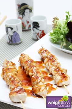 Healthy Dinner Recipes: Chicken Teriyaki Skewers. #HealthyRecipes #DietRecipes #WeightlossRecipes weightloss.com.au
