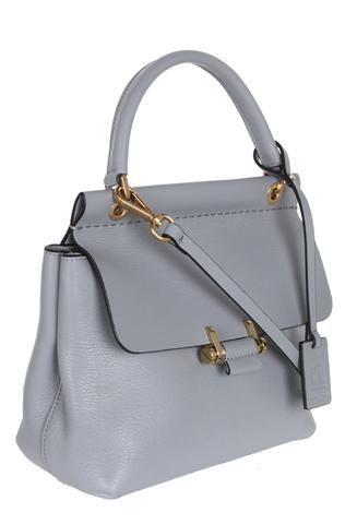 Notes New model Mini Top Handle bag in light grain goatskin withgold metal squeeze clasp detail,...