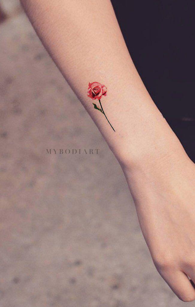 a22812bc5 Small Watercolor Rose Arm Tattoo Ideas for Women Tiny Cute Red Floral  Flower Wrist Tat - pequeñas ideas del tatuaje de la muñeca de la rosa del  rojo de la ...