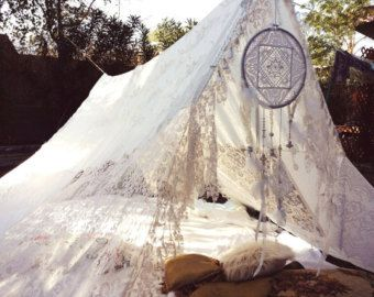 Boho Tent Wedding Dreamcatcher lace hippiewild Decor TeePee photo prop Bohemian hippie backdrop gypsy white bride shabby chic Dream catcher