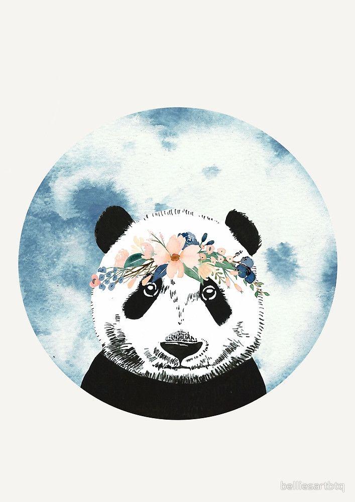 Panda mit Flower Crown   Blumenkranz   Blumen   floral   Wasserfarben   Illustration   nicht nur für Kinder   Kunstdruck