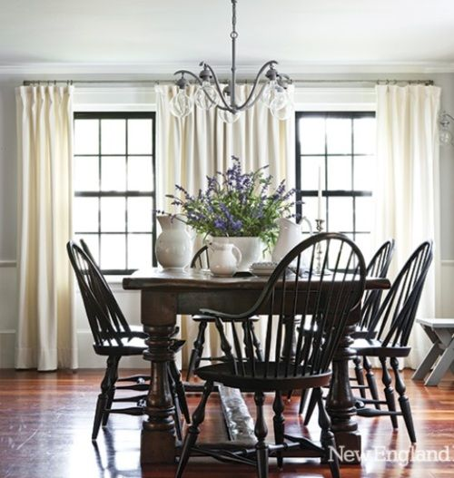 Country  carver chairs  timber floors  lavender centrepiece  Designing WomenDining  TableDining. 26 best Table and chairs images on Pinterest   Table and chairs