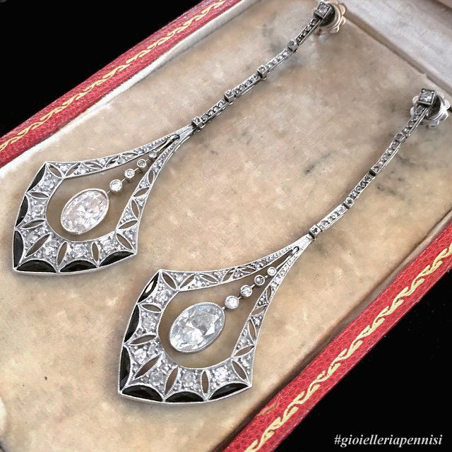 A pair of Art Deco diamond and onix earrings by Chiappe. 1925 c.a. now in a private collection.  Pennisi Milano