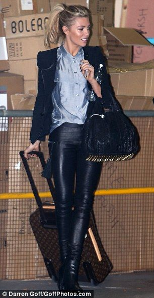 Yummy mummy: Abbey Crouch has worn her favourite leather trousers twice this week