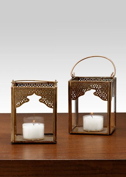 Antiqued Bronze Mumtaz Square Lantern: Small lanterns to hang or put on tables at a themed party or wedding.