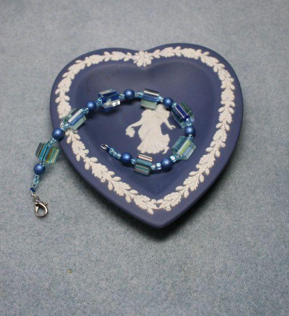 Women's handmade glass bead blue bracelet
