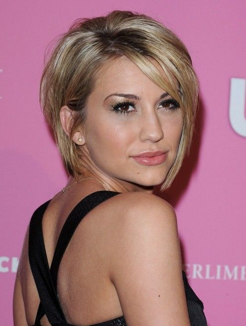 Chelsea Kane Graduated Bob - Trendy Short Hairstyle for Women This beautiful bob cut looks almost sculpted from pale gold metal. The graduated bob is a timeless style which always looks highly contemporary, because of the sharp angles from back to the longest lengths at the front. With one side pushed behind the ear and the piecey fringe creating a golden strip ending at one beautiful brown eye.