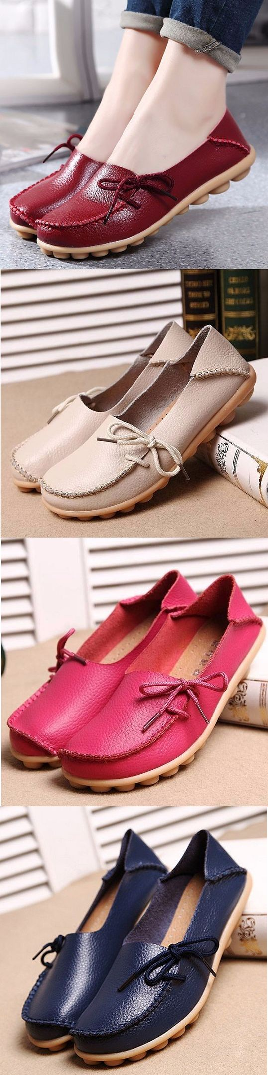US$14.87 Big Size Pure Color Slip On Lace Up Soft Sole Comfortable Flat Loafers