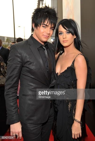 Singers Adam Lambert and Katy Perry arrive at the Los Angeles premiere of 'This Is It' at Nokia Theatre L.A. Live on October 27, 2009 in Los Angeles, California.