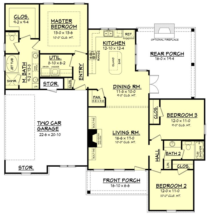 Cottage style house plan 3 beds 2 baths 1600 sq ft plan for 1600 sq ft ranch house plans