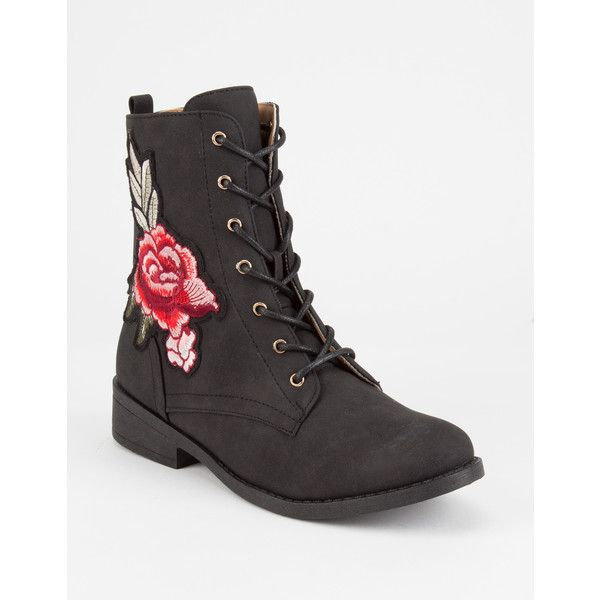Qupid Embroidered Womens Combat Boots ($35) ❤ liked on Polyvore featuring shoes, boots, ankle boots, lace-up bootie, military boots, army boots, short lace up boots and lace up boots