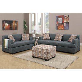 Poundex 2-Piece Bobkona Baldwin Blue Grey Living Room Set Y797273