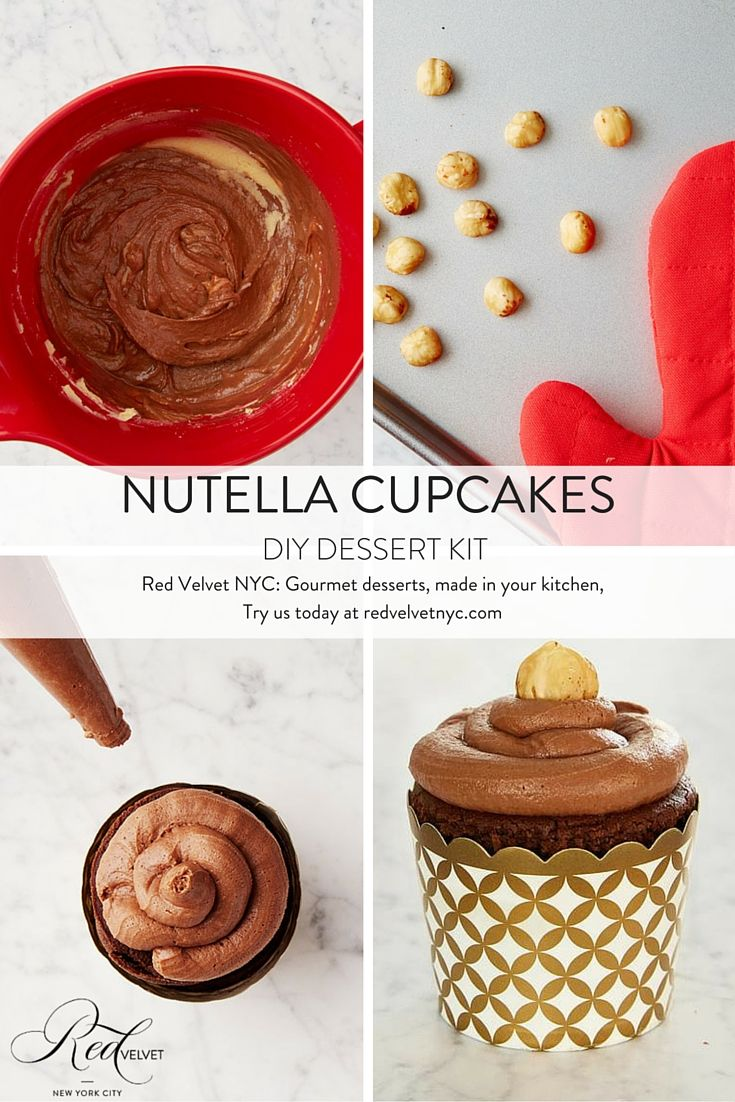 Our DIY Nutella Cupcakes kit is longtime customer favorite! We used an Italian pantry staple to create this rich hazelnut dessert: dark chocolate cake is topped with Nutella and a roasted hazelnut for a smooth and rich treat. And the best part of all is that it's easy to make, right in your kitchen! Ciao bellisima! #nutella #cupcakes #diy #dessert