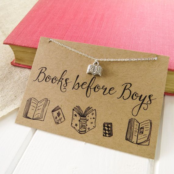 Books before Boys Necklace - Anti- Valentine's Day Gift for Book Lover - Silver Book Necklace
