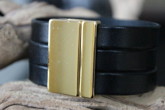 Leather Cuff Bracelet Black Triple Strand by PepperPotLeatherShop, $45.99